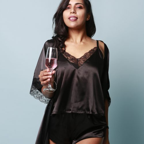 EBONY BLACK LACE TWO-PIECE SILK PYJAMA SET