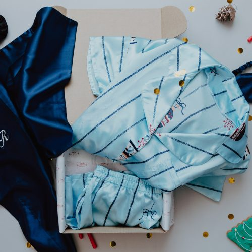 christmas blue pj set gift box